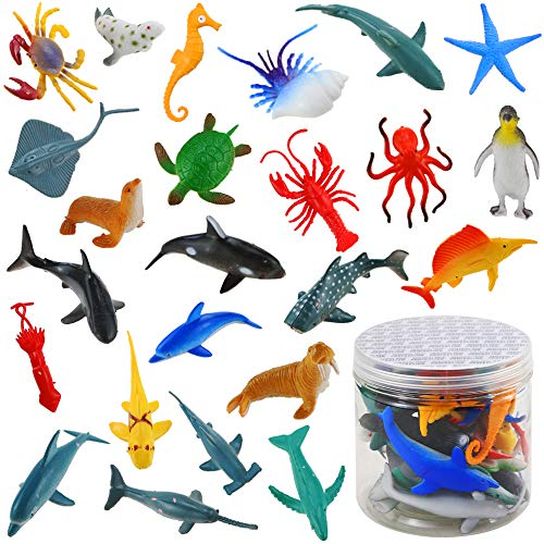 BIGNC 24 Pack Mini Ocean Sea Animal Model Toys Under The Sea Life Figure Bath Toy for Child (Shark, Blue Whale, Starfish, Crab,etc.)