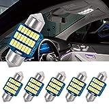 SanGlory 6 Pezzi 31mm C5W LED Lampadine Canbus No Errore LED Festone, 21 x 3014 SMD LED Bulbi per Luci Plafoniera, Targa, Lampade Interni Bianca Fredda 6000K, 12V (31mm)