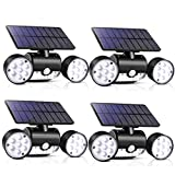 Outdoor Solar Lights, 30 LED Solar Security Lights with Motion Sensor Dual Head Spotlights IP65 Waterproof 360° Adjustable LED Solar Motion Lights for Front Door Garage Patio Deck (Pack 4)