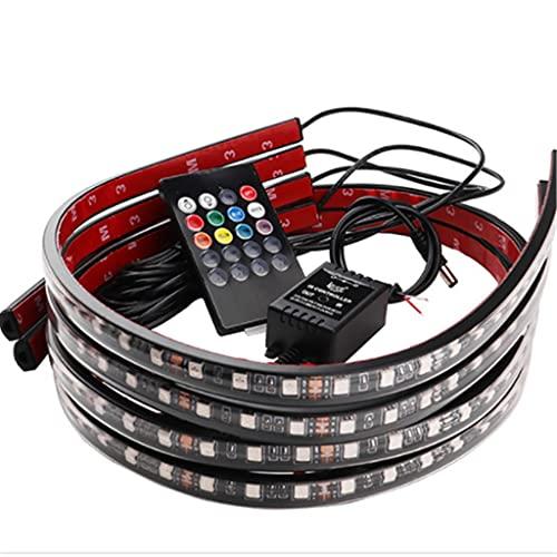 JEZZ Luz de bajo Brillo para Coche, Tira Flexible, Luces LED para Debajo de la carrocería, Control Remoto de Aplicaciones, luz de neón LED para Coche, lámpara Decorativa para atmósfera