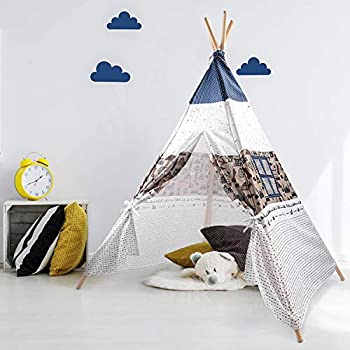 Arkmiido Teepee Tent for Kids Play Tent for Boy Girl Indoor & Outdoor Toddler Girls Boys Canvas Tipi Tents