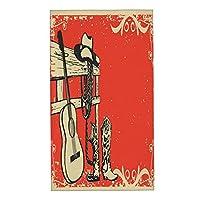 KIMDFACE フェイスタオル 2枚セット,カウボーイの服と音楽ギターの背景を持つ西洋カントリーミュージックのポスター 柔らか肌触り おしゃれ ハンドタオル 四季通用 タオル 家庭用/業務用/ホテル/スポーツなどに最適,40x70cm