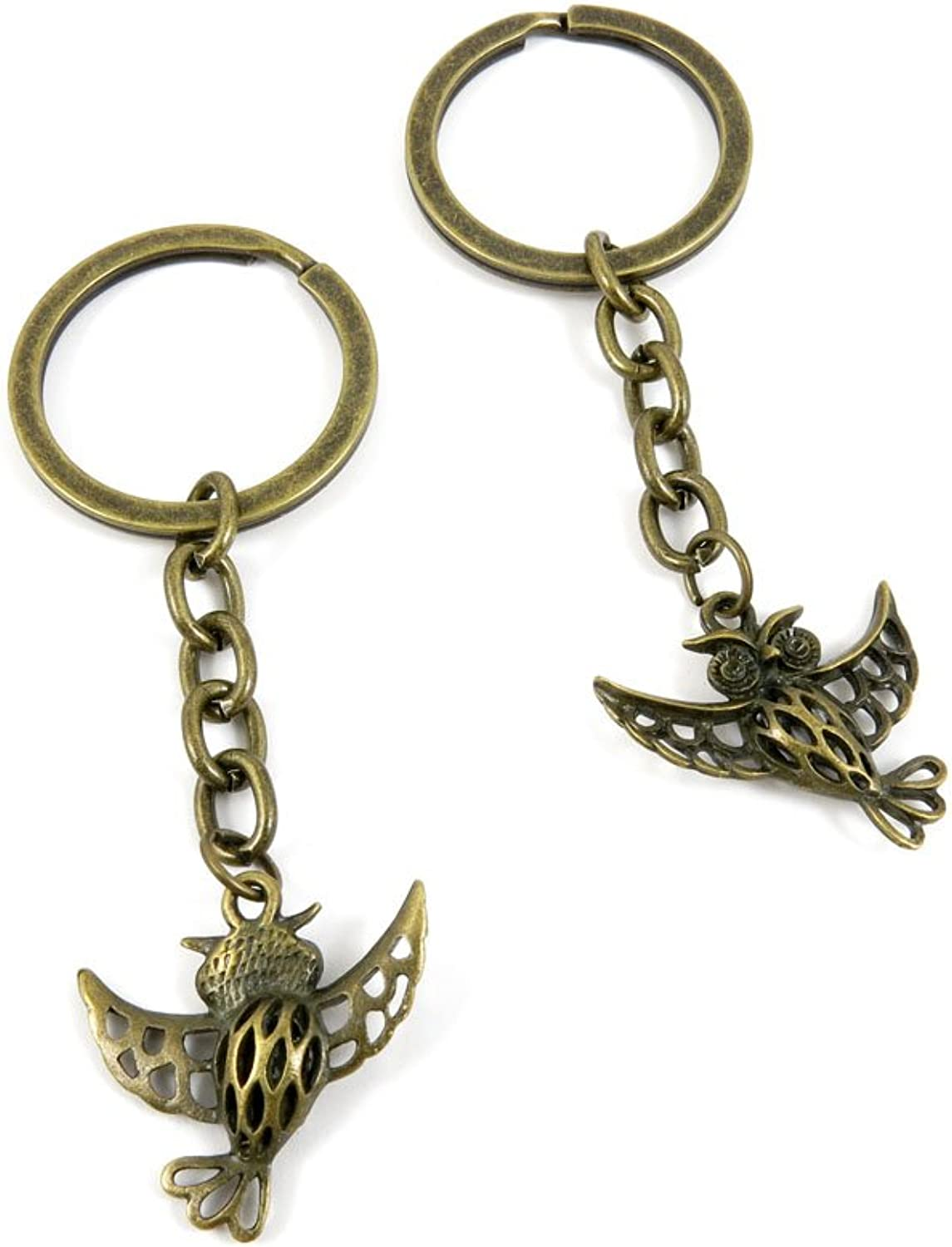 40 PCS Keyring Car Door Key Ring Tag Chain Keychain Wholesale Suppliers Charms Handmade D7UI7 Hollow Owl