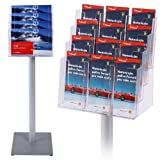 Prospektständer A4 A5 DIN lang vierstufig Aufsteller Prospektständer Boden Alu