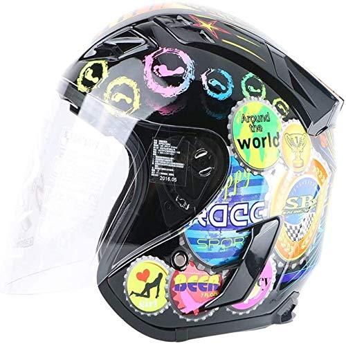 ZHXH Adult Harley Helm Open Face 4/10 Tragbarer Roller Motorrad Helm/Punkt Standard Sonnenschutz Schutzhelm,