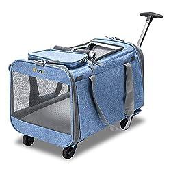 """top 10 pet carrier wheels Bonnlo Cat Puppy Pet Carrier on Wheels – 20×12"""" x12Soft Travel PetCarrier…"""