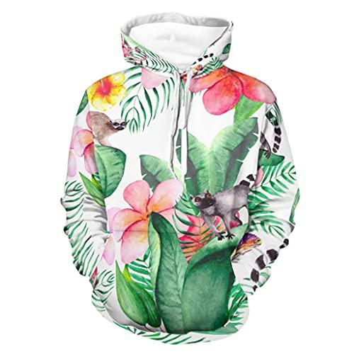 Sudadera con capucha para hombre y mujer tropical Plumeria flores Animales AFFE Chamelon 3D Print Jersey de ocio Sudadera de manga larga con capucha, Unisex adulto, Blanco, 5XL