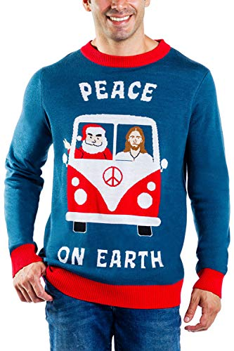 Men's Peace On Earth Sweater - Funny Santa Christmas Sweater for Guys: L Navy Blue