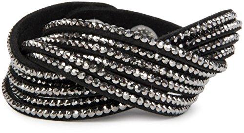 styleBREAKER weiches Strass Armband, eleganter Armschmuck mit Strassteinen, Wickelarmband, 6x1-Reihig, Damen 05040005, Farbe:Schwarz/Silber