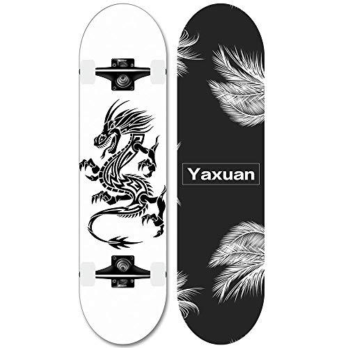 31x8 Zoll Full Skateboard, geeignet für Erwachsene Teenie Skill Skateboard (YX-1)-Schwarzer Drache_