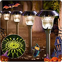 BEAU JARDIN Solar Lights Bright Pathway Outdoor Garden Stake Glass Stainless Steel Waterproof Auto On/off White Wireless Sun Powered Landscape Lighting for Yard Patio Walkway Landscape Spike Pathway