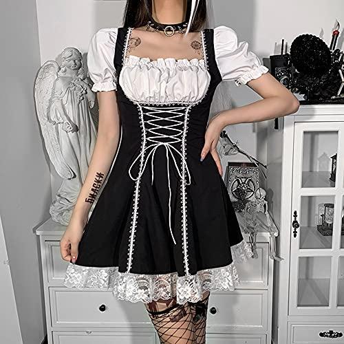AUUUNN Disfraz de sirvienta de Halloween, Delantal francs, Cosplay, Manga Corta de Soplo, Vestido Lolita Cuadrado, Bonito Traje de sirvienta de Anime