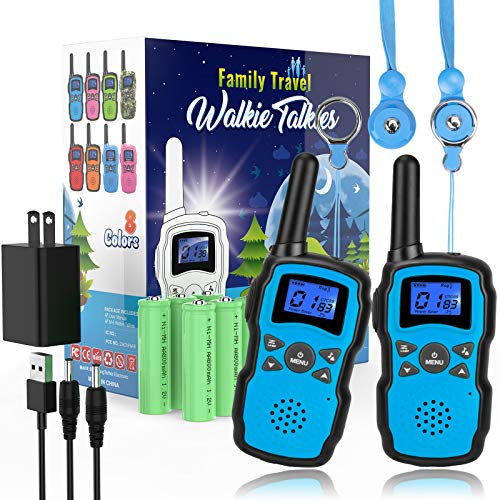 Wishouse 2 Rechargeable Walkie Talkie for Kids with Charger Battery,Family Walky Talky for Adult Cruise Ship, Outdoor Camping Hiking Fun Toys Birthday Xmas Gift for Girls Boys Blue