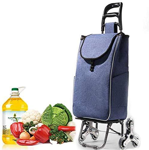Carrito de compras ligero de 6 ruedas Carrito para subir escaleras con ruedas giratorias y bolsa extraíble de lona impermeable y extraíble Carrito de supermercado para el hogar Capacidad de 90 kg Azu