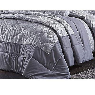 Catherine Lansfield Damask Jacquard Silver Bedspread