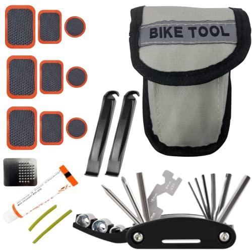Herramientas de Bicicleta para la repación de Ruedas. Kit repara pinchazos de alta calidad con parches para la bicicleta, pegamento, llave multifuncional y 2 palancas para neumáticos