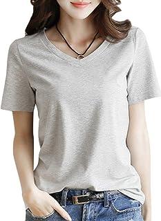 [ニーマンバイ ] 半袖 Tシャツ きれいめ シンプル カットソー S~2XL レディース(黒・グレー・白・黄色)