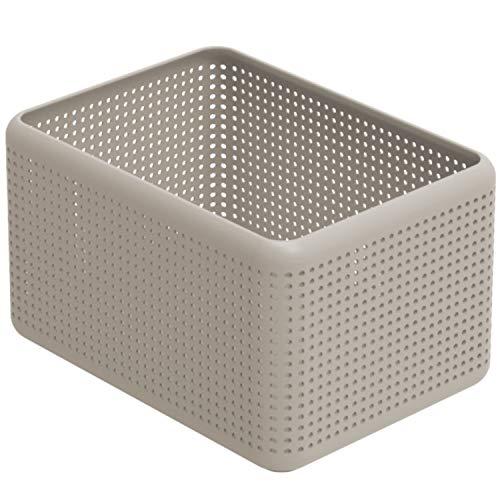 Rotho Madei Scatola di Stoccaggio, Plastica (PP Riciclato) senza BPA, Beige (Cappuccino), 13 L, 32.6 x 23.8 x 18.8 cm