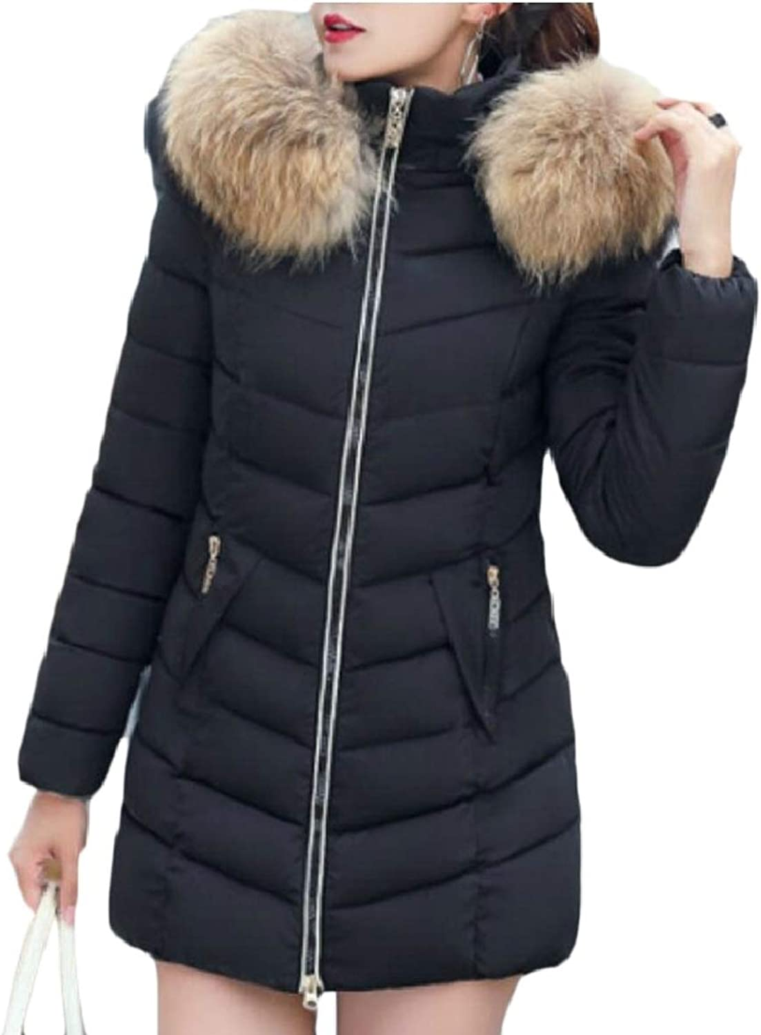 LEISHOP Women Outwear Down Coat Faux Fur Parka Puffer Jacket Long Overcoats
