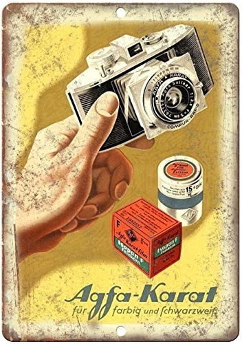 Decoratieve Vintage Retro Metalen bord 1958 - Agfa-Karat Film Camera Ad - Retro Look Metalen bord