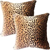 Entua Faux Fur Leopard Throw Pillow Covers Cases, Wild Animal Print Throw Pillow Cover Luxe Soft Double Sided, Brown Gold Decorative Pillowcases for Couch Sofa 18 in Set of 2