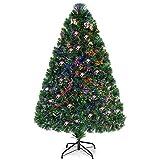 Costway Albero di Natale Illuminato Abete Artificiale, con Fibra Ottica, Cambia Colore, Verde, 90/120/150 (120cm)