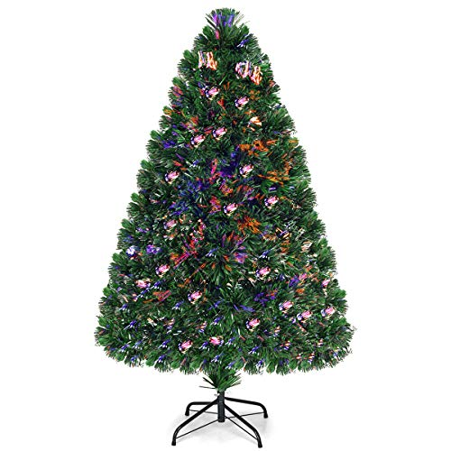 Goplus Artificial PVC Christmas Tree Pre-Lit Fiber Optic Tree (4 FT)