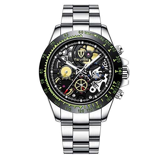 JTTM Reloj Mecánico Automático para Hombre, Manecillas Luminosas, Esfera Hueca, 3 ATM, Resistente Al Agua, Reloj Deportivo,Silver Black
