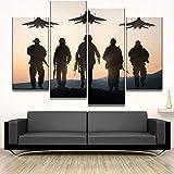 LOVELYJ Leinwanddrucke Wandkunst Leinwand Poster Home Dekorative 4 Stücke Flugzeug Und Soldaten Gemälde Moderne Hd Drucke Typ Bilder Decor-Ohne Rahmen
