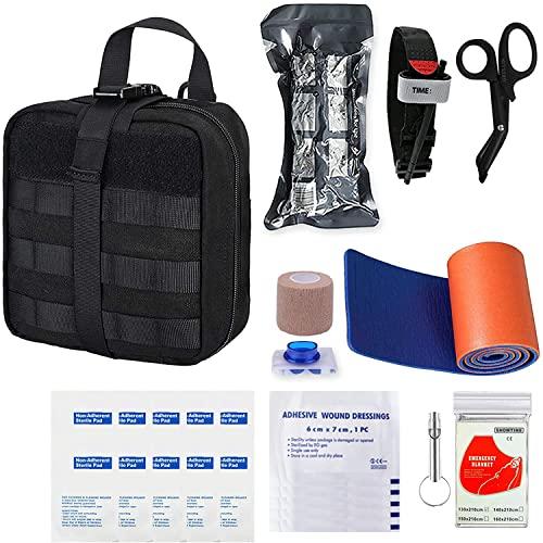 GRULLIN Botiquines de Primeros Auxilios 39 Piezas Portatil Vendaje israelí torniquete tactico Botiquin Supervivencia, Kits de Primeros Auxilios para Exteriores, Sala, automóvil(Black)
