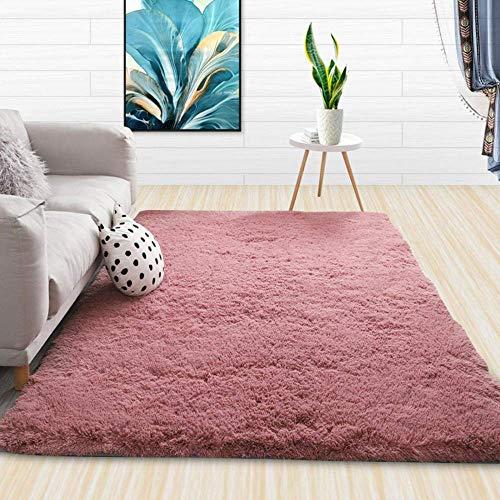 Shaggy Rugs Soft plain Thick Pile, alfombra de pelo largo de color sólido, fácil de limpiar la alfombra del piso-Bean Paste_120 * 160CM, alfombra de sala de estar ultra suave que no se desprende