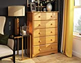 """100% Solid Wood 5-Drawer Chest by Palace Imports, Honey Pine Color, 32""""w x 44.5""""h x 17""""d. Metal Antique Brass Knobs Sold Separately. Requires Assembly"""