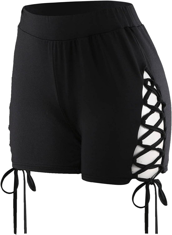 Women Lace Hollow Out Swimsuit Shorts Split Drawstring Swim Board Short Tankini