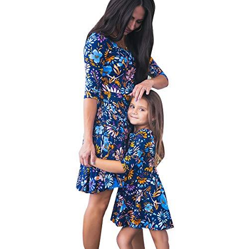 vpuquuz Mom&Me Damen Kinder Mädchen Floral Familie Passende Kleider Freizeit Kleider Frühling Sommer Kleid Frauen Baby Outfits Kleid für Mutter Tochter Frauen (Mutter, S)