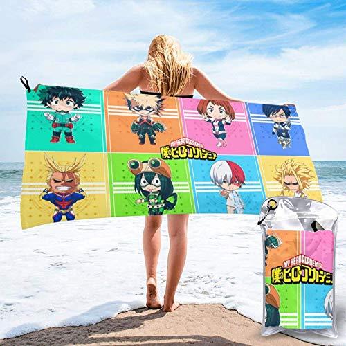 DJNGN Bakugo Vs Boku My H-er-o Aca-dem-ia - Toalla de playa de microfibra, secado rápido, súper absorbente, agradable a la piel, para piscina, color brillante, manta de viaje para niños, playa, prácti
