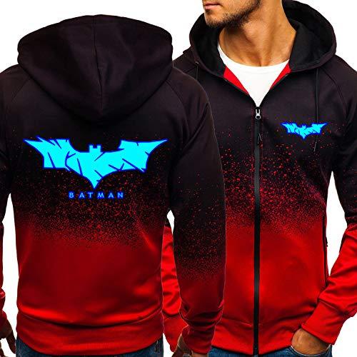 Hommes Sweat-shirt Batman Imprimer Zipper Jacket Décontracté Pull Sportswear Unisexe Manches Longues à Capuchon à Capuche - Cadeau De L'adolescence Red-Medium