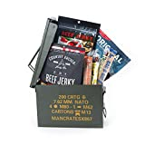 Premium Jerky Ammo Can – Includes 3 Beef Jerky Flavors, Gourmet Almonds, Corn Nuggets And More – Ships In A Glorious, Steel Ammo Can He'll Love – Ultimate Gift for Meat Lovers