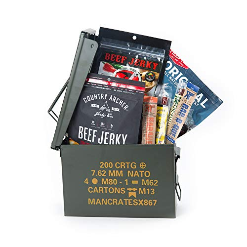 Premium Jerky Ammo Can – Includes 3 Beef Jerky Flavors, 3 Meat Stick Flavors, And Snacks – Ships...