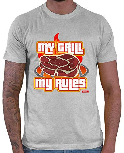 Hariz My Grill My Rules - Camiseta de manga corta para hombre, diseño con texto en inglés gris claro XXL