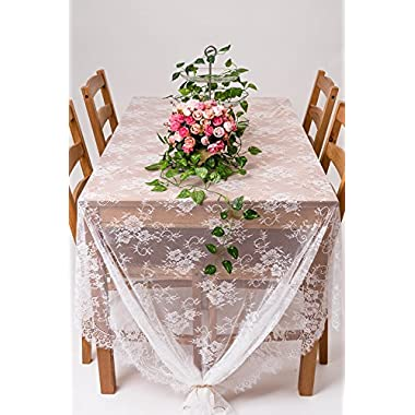 Crisky 60 x120  Classic White Lace Tablecloths for Weddings, Rose Vintage Embroidered Lace Table runner Overlay for Baby & Bridal Shower Décor, Elagent Chic Spring Sunmmer Outdoor Tea Party Tablecover