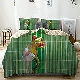 TONKSHA Bettwäsche-Set,Mikrofaser,Karikatur-Frosch-lustiger Badefrosch, der Zähne putzt Nettes Tier für Kinder,1 Bettbezug 240x260 + 2 Kopfkissenbezug
