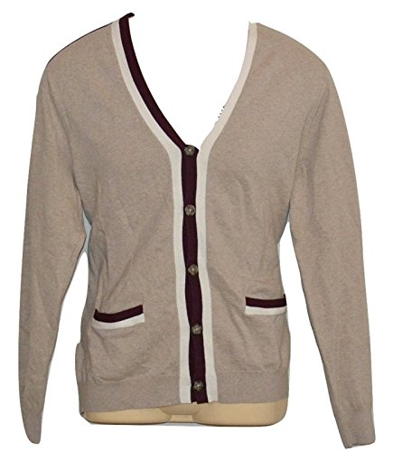 Perry Ellis Beige Long Sleeve Cotton Nylon Button Closure Cardigan Men (L)