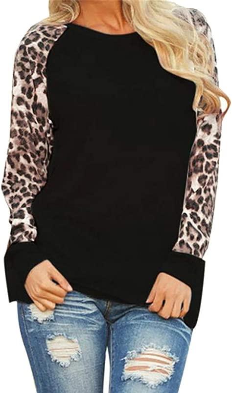Women S Long Sleeve Leopard Print Patchwork T Shirt Blouse Ladies T Shirt Oversize Tops Black M
