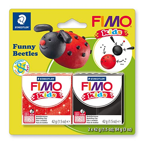 Staedtler FIMO Kids, Assortiment de 2 pains de pâte à modeler durcissant au four pour les enfants, Extrêmement souple et malléable, Deux pains de 42 grammes spécial scarabées sous blister, 8035 12