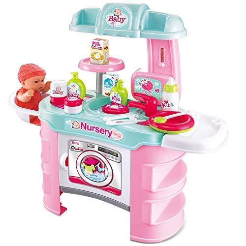 Rexco 2006657 kinderkamerset, groot, voor baby's, baby's, baby's, baby's, baby's, baby's, luiertafel, voederstoel, zonder pop, roze