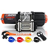 ZESUPER 4500 lb 12V DC Electric Winch 50 ft Steel Cable Off Road Waterproof UTV ATV Boat Modified Vehicles Winch Kits Wireless Remote