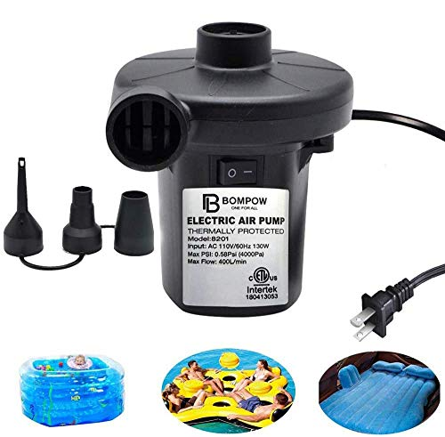 BOMPOW Electric Air Pump for Inflatables Air Mattress Pump Air Bed Pool Toy Raft Boat Quick Electric Air Pump Black (AC Pump(130W))