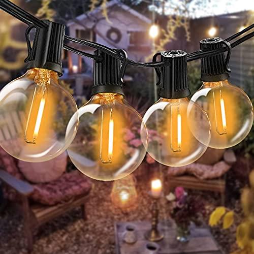 Outdoor String Lights LED Bomcosy G40 100ft Festoon Lights 2700K, 50Pcs Sockets, 1.64ft Spacing, Waterproof Indoor Outdoor Globe String Lights for Garden Terrace Patio Outside Lights