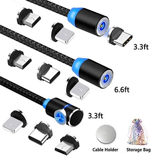 Kyerivs Cable Magnetico Micro USB Tipo Lighting Cargador Nylon Trenzado Cable de Carga 3 en 1 Cables con LED para Samsung Galaxy S6 S7 S8 S9 S10,Huawei P10 P20,Xiaomi,Sony,iproduct-6 10 11 X XS XR