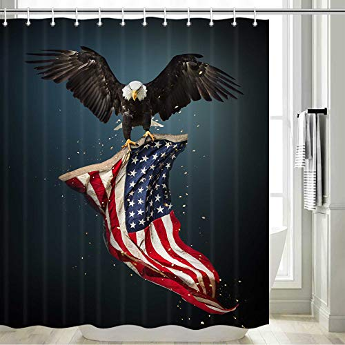 """American Flag Shower Curtain, Fourth of July Independence Day Bathroom Decor, Flying Bald Eagle with American Flag Bathroom Accessories, USA Patriotic Eagle Shower Curtain with 12PCS Hooks, 69"""" X 70"""""""